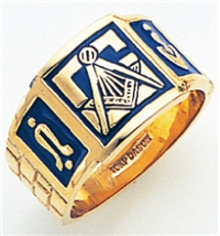 "Masonic rings Enameled Front with S&C and ""G"" - 10KYG"
