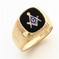"Master Mason ring Square stone & rounded edges with S&C and ""G""- 10K YG"
