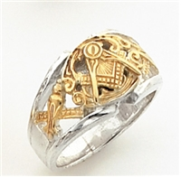 "Master Mason ring Round front with S&C and ""G"" - Sterling Silver"