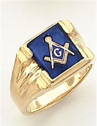 """Master Mason ring with Square stone with S&C and """"G""""- 10K YG"""