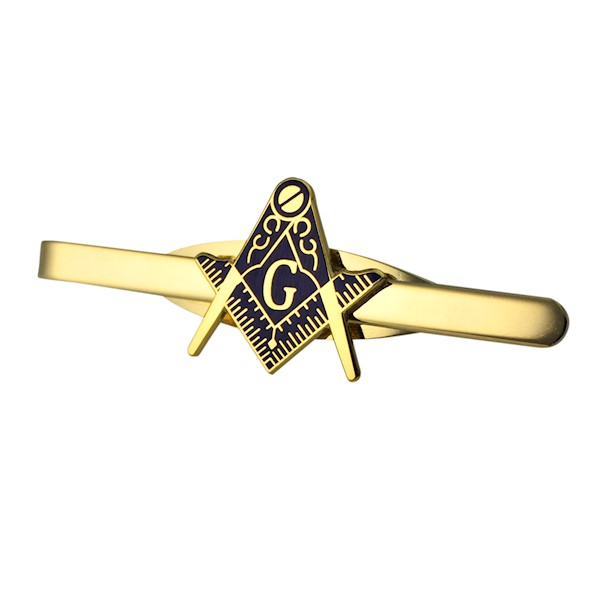 Masonic Tie Bar - Goldtone w/ Cutout Emblem