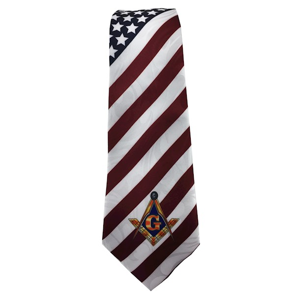 "American Flag Tie with Square, Compass and ""G"""