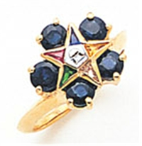 O.E.S. 10K Member's ring with 5 birth stones around raised star