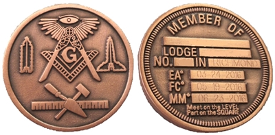 Masonic working tools 2 sided coin w/ Engraving