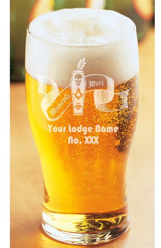 Lodge engraved Masonic Tulip Beer Glass