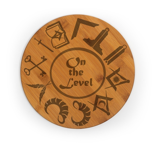 Masonic engraved round bamboo cutting board